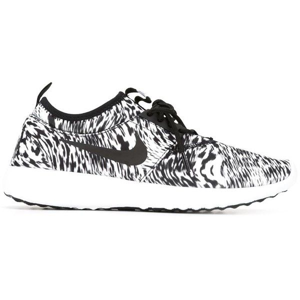 Nike Roshe One Sneakers ($100) ❤ liked on Polyvore featuring shoes, sneakers, black, black lace up shoes, black trainers, leopard flat shoes, leopard print sneakers and black shoes