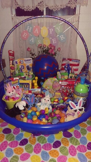25 best the best pool toy holiday gifts images on pinterest easter huge easter basket made with kiddie pool and hula hoop negle Image collections