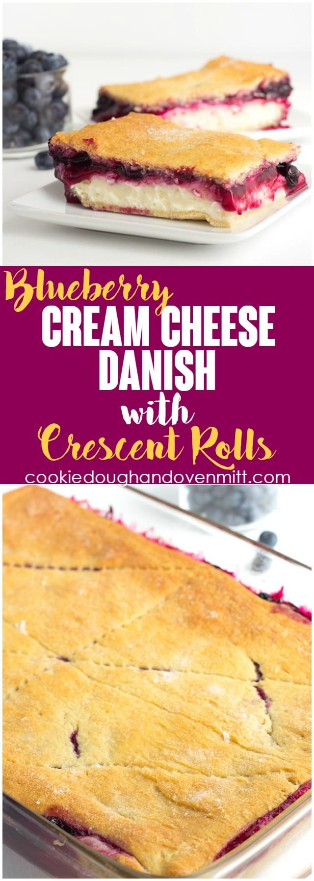 Blueberry Cream Cheese Danish with Crescent Rolls - Need a dessert that will feed a crowd? This blueberry cream cheese danish with crescent rolls is perfect! There's a fresh blueberry filling loaded on top of a cheesecake and sandwiched between crescent rolls! via @mmmirnanda