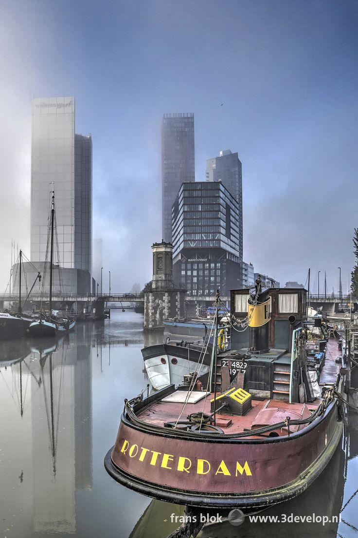 Op een stille ochtend in oktober vormen zich mistbanken boven de Nieuwe Maas. Flarden mist trekken de stad in en onttrekken de hoogbouw op het Wijnhaveneiland gedeeltelijk aan het zicht. De combinatie van mist, blauwe lucht en vrijwel rimpelloos water zorgen voor een onwerkelijke, magische sfeer.
