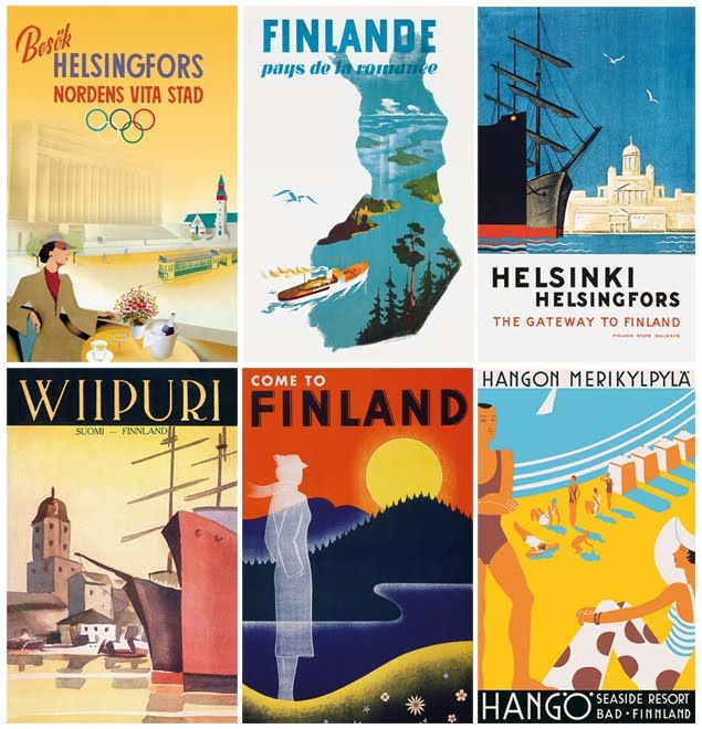 Posters and postcards from the Come To Finland book; a book about vintage ...