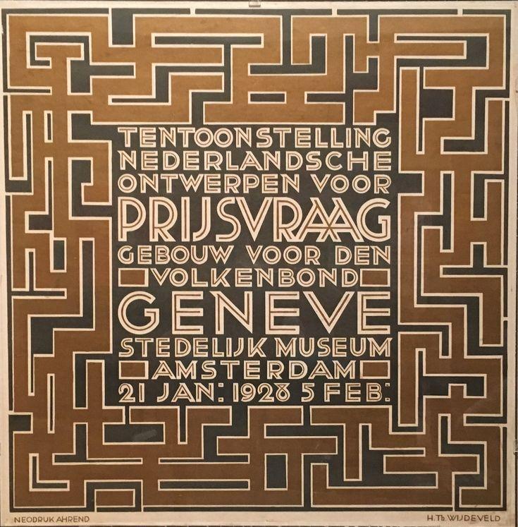 H.Th. Wijdeveld, affiche tentoonstelling ontwerpen Volkenbond Genève in Stedelijk Museum Amsterdam 1927