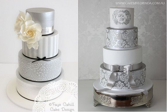 silver anniversary cakes by Faye Cahill Cake Design left and by Cakes by Lorinda right