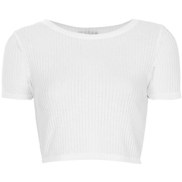 TOPSHOP Skinny Rib Crop Tee ($12) ❤ liked on Polyvore featuring tops, crop tops, shirts, crop, white, short sleeve tops, topshop shirt, ribbed top, crop shirts and ribbed crop top