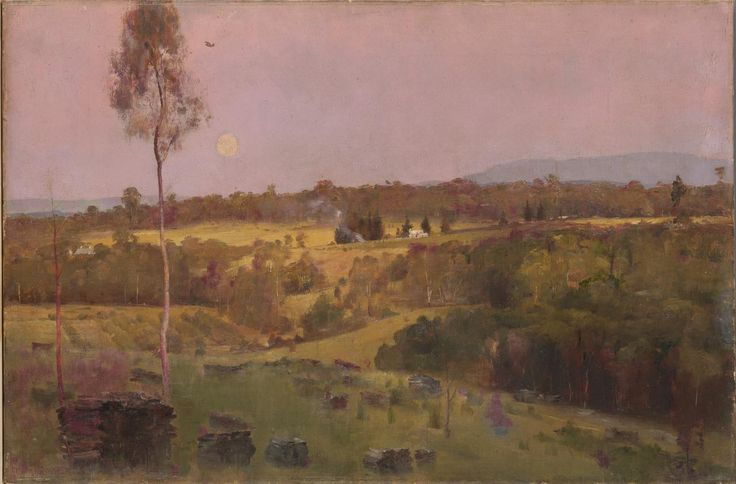 'Evening, when the quiet east flushes faintly at the sun's last look', - Tom Roberts