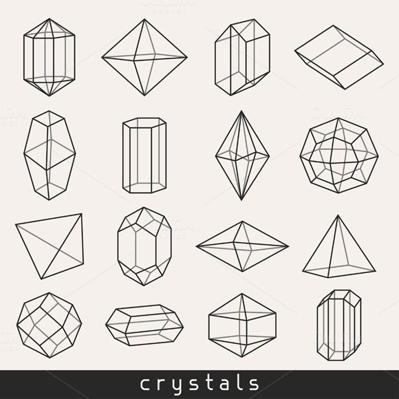 Set of geometric crystals. by incomible on Creative Market
