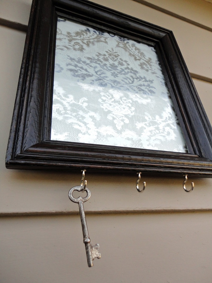 Lay lace on a mirror and spray with frosted spray paint. Pretty!
