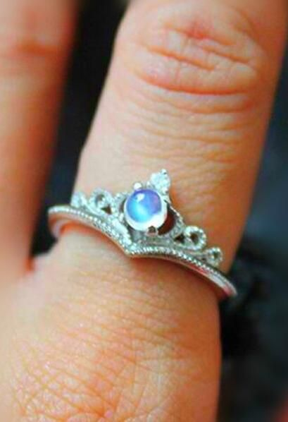 fancy blue moonstone tiny crown promise ring