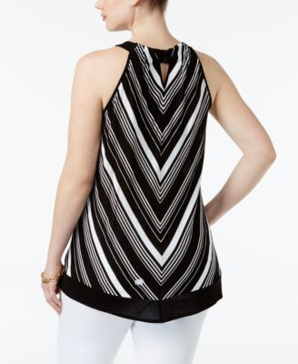 Inc International Concepts Plus Size Chevron Halter Top, Only at Macy's - Black 2X