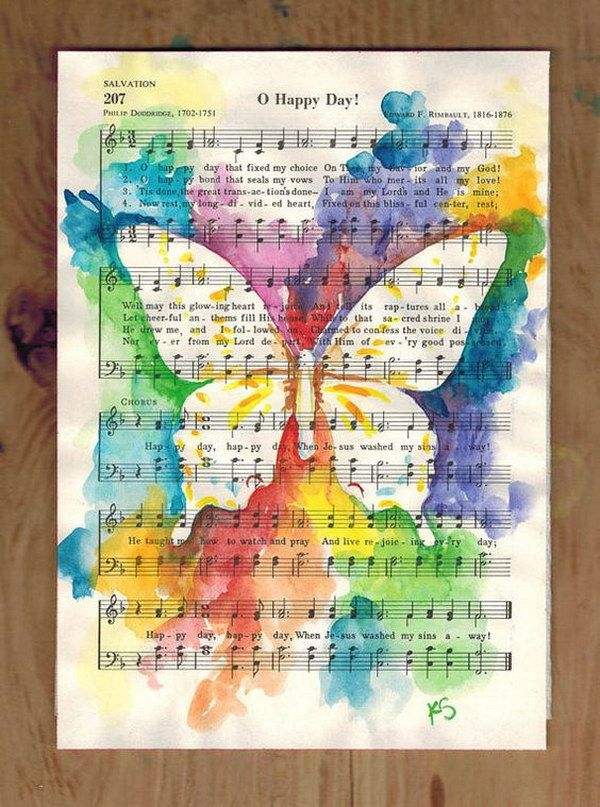 Butterfly Watercolor Painting On Vintage Upcycled Sheet Music.