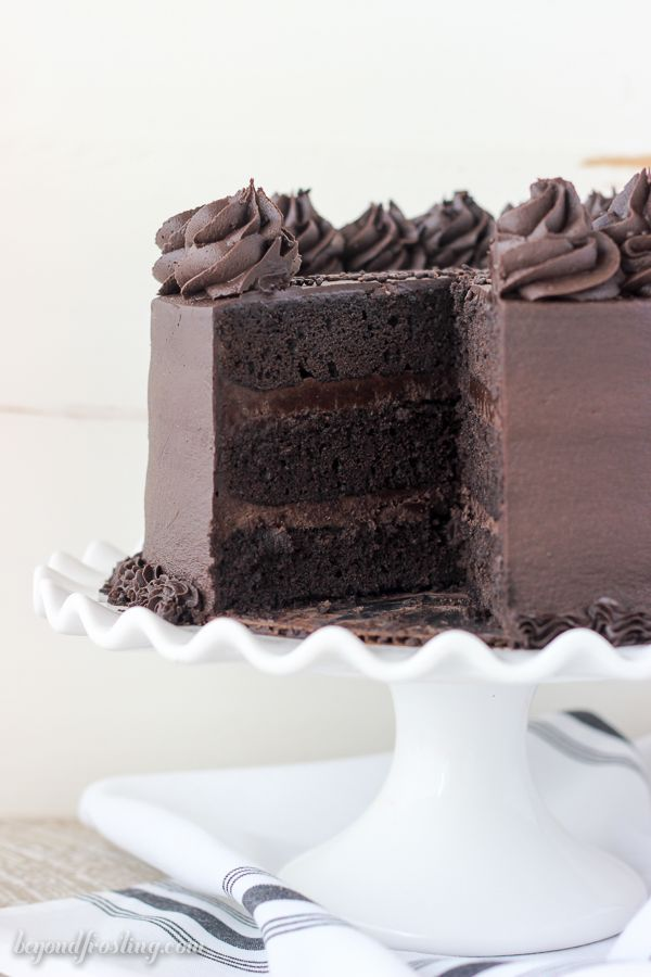The BEST Chocolate Stout Cake. This cake is incredible rich, moist and filled with dark chocolate.