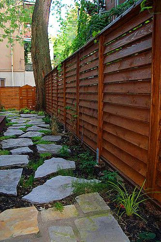 Privacy Fence Design,anfled slats, wind sound delfected