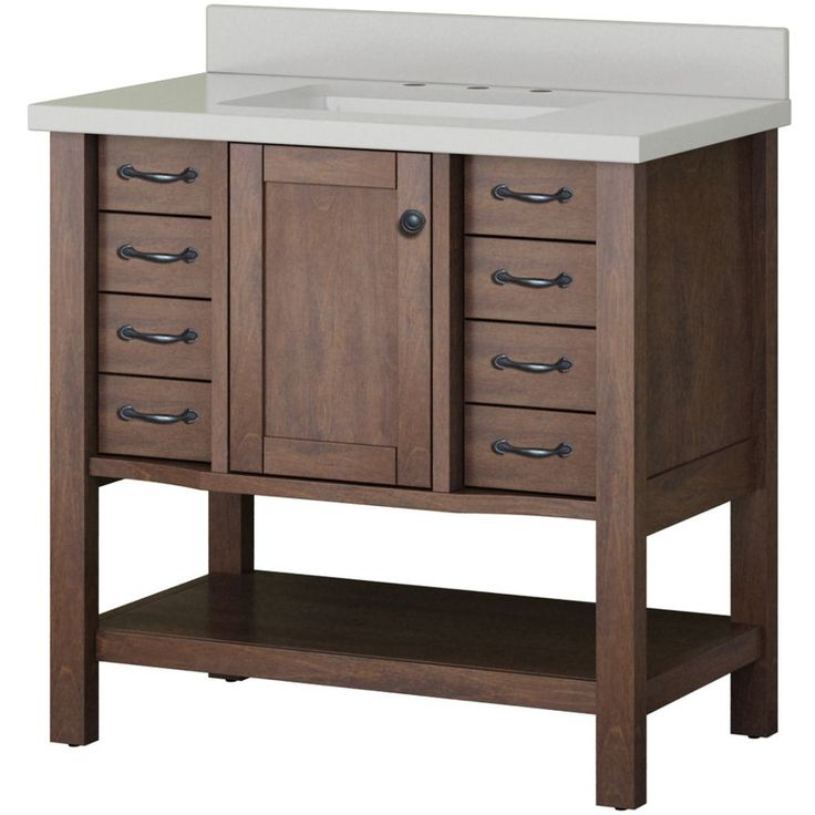 allen + roth Kingscote Espresso 36-in Undermount Single Sink Asian Hardwood Bathroom Vanity with Engineered Stone Top