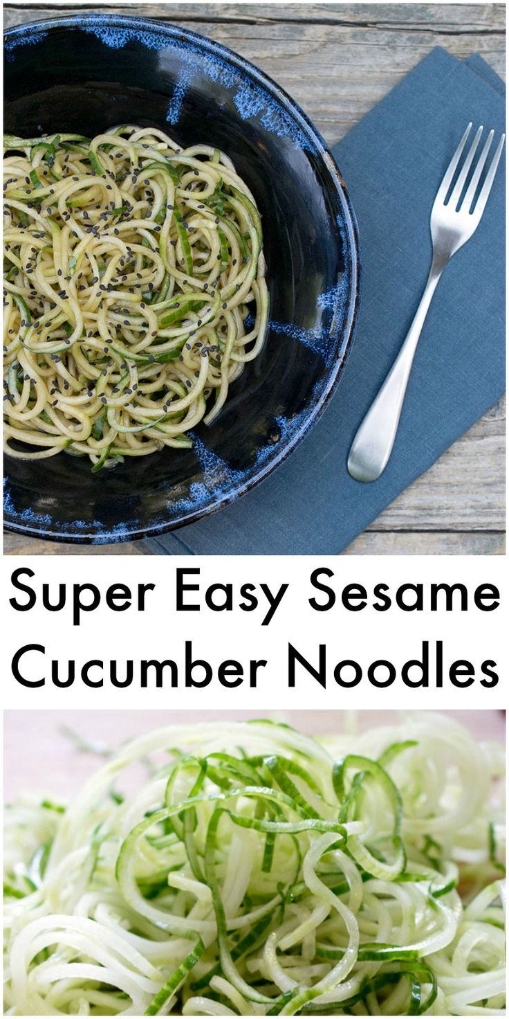 Super Easy Vegan Sesame Cucumber Noodles with soy-free, gluten-free & no oil added options!