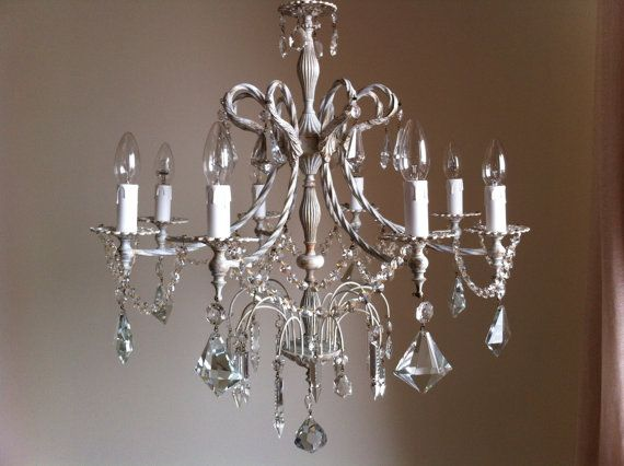 Distressed Shabby Chic Chandelier 8 Arms Crystal Cream Color Rare Crystals