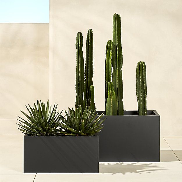"Shop blox 32"" low galvanized charcoal planter.   Charcoal planter squares up sleek and modern.  Protected for indoor and outdoor settings, matte-finished galvanized steel plays up refined industrial to dramatic effect."