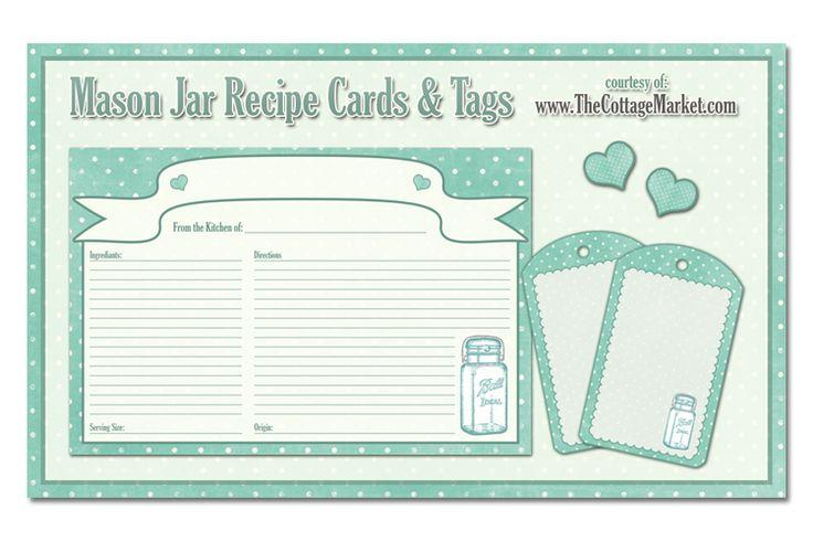 Free Large Mason Jar Recipe Card and Large Mason Jar Scalloped Tags...tons of…