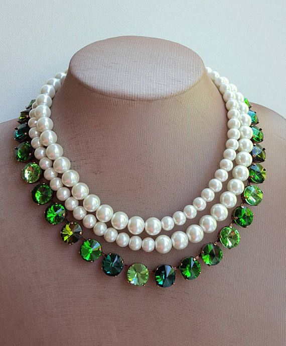 Check out this item in my Etsy shop https://www.etsy.com/ca/listing/540804245/emerald-and-pearl-statement