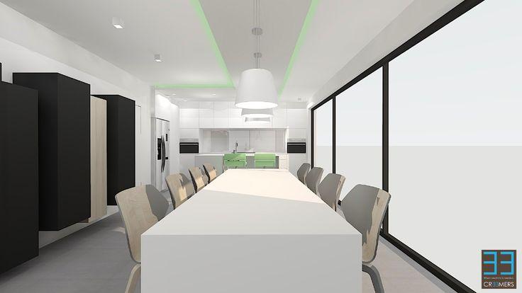 Modern interior in belgium living area and kitchen in for Interieur kortrijk belgium