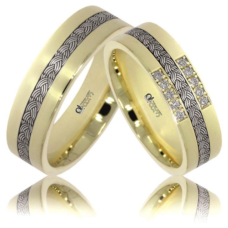 Verighete ATCOM Lux personalizate FATEME aur galben cu alb