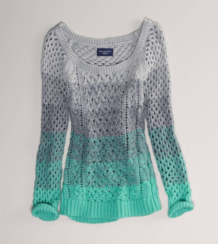AE Ombre Open Stitch Sweater. Gray and mint.