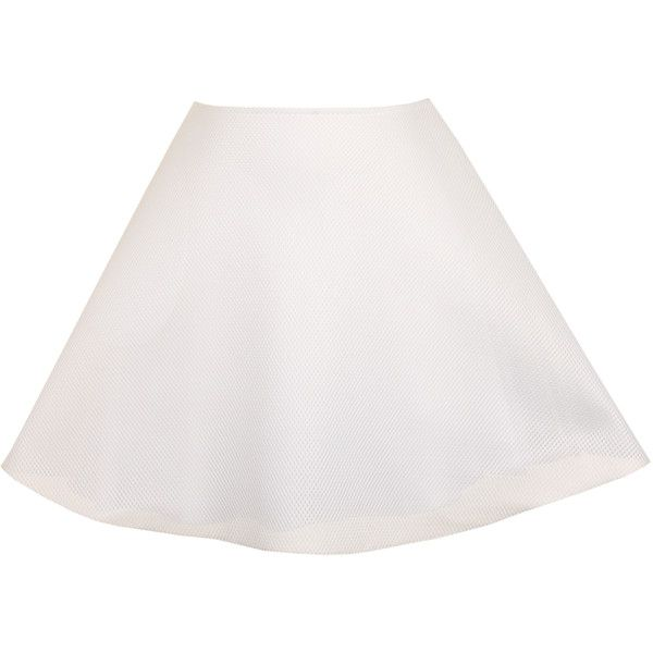 UNIF - White Mesh Scuba Skater Skirt-UK 8 ($60) ❤ liked on Polyvore featuring skirts, pink, flared skirt, white skirt, white slip, mesh skirt and flared skater skirt
