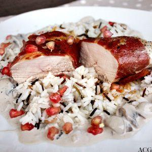 Kylling med granateple- og soppsaus