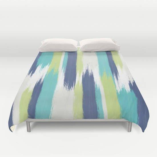 Painted Summer,Duvet cover,Bedding,Bedroom decor,Queen,King and Full duvet cover,art brushes,beach house bedding,blue duvet cover,stripes by OkopipiDesign on Etsy