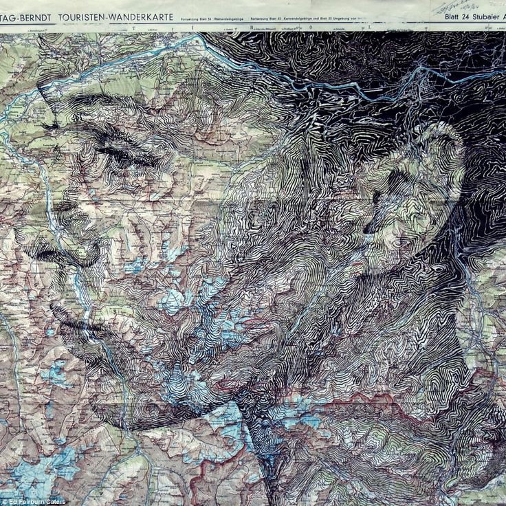 Seattle Map Funny%0A Creative  A woman u    s face drawn using the contours of a map of Innsbruck  in