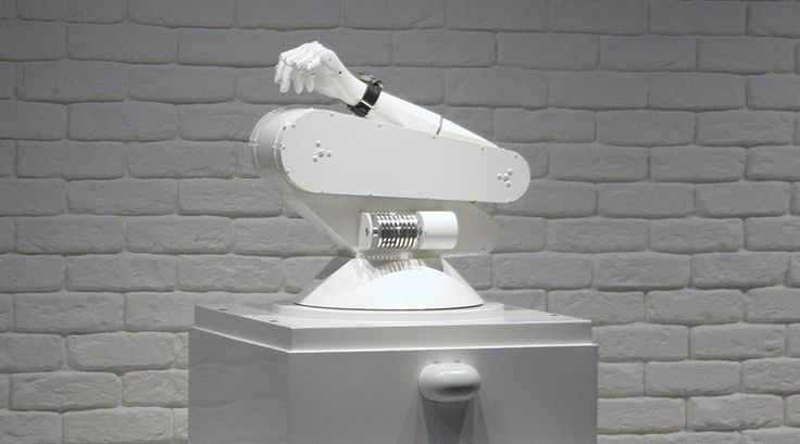 A.W.E. (Automated Winding Engine) is a unique kinetic robot commissioned especially for the MB&F M.A.D. Gallery in Geneva. This alluring robotic arm shakes a cheeky, mechanical fist at the establishment by offering a playful alternative in showcasing and winding timepieces.