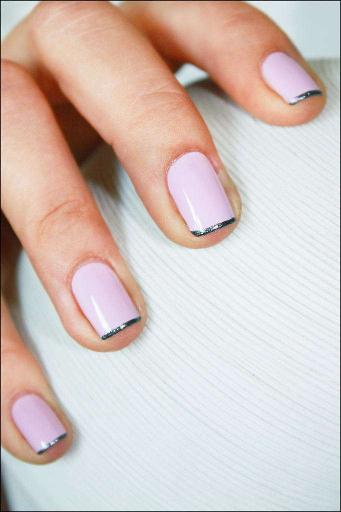 Modern french mani - metallic tips on lilac nails