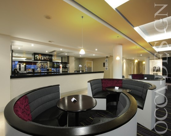 Hotel Interior Design Curved Fixed Seating Bar Holiday