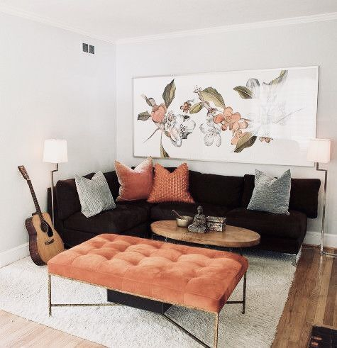 Black Gray And Blush Pink Ottoman Coffee Table Combination