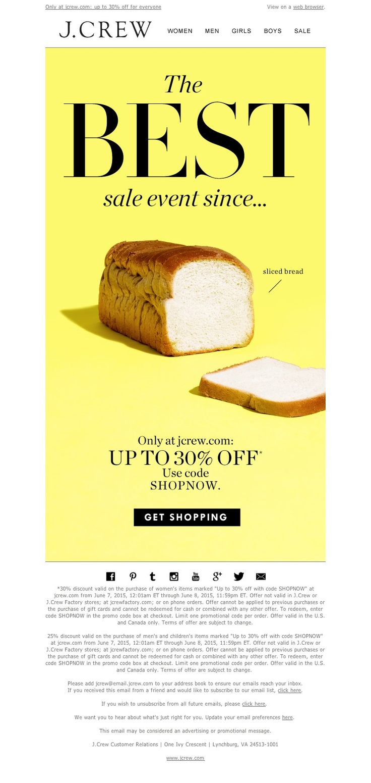 J.Crew - Don't forget to shop our sale event: up to 30% off