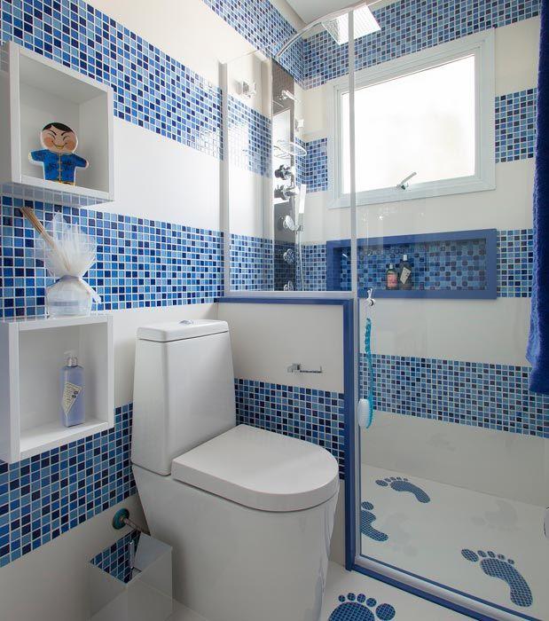 banheiro femino com revestimento de pastilhas  Pesquisa Google  Banheiros  -> Decorar Banheiro Azul