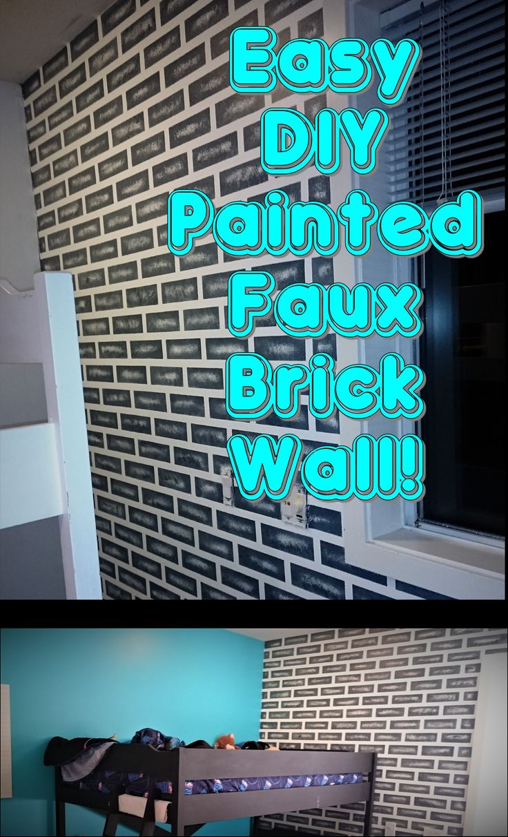 Perfect feature wall for boys bedroom. Super easy! Minimal supplies, maximum effect! #fauxpaint #fauxbrick #boysbedroomdecor