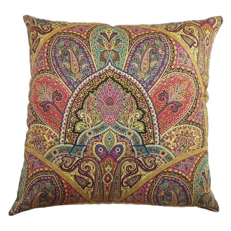 The Pillow Collection La Ceiba Paisley Pillow - Gemstone - P18-42255-GEMSTONE-C100