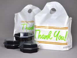 "Printed white take out bags, #UniversalPlastic is leading manufacturer and supplier offers wave top handle plastic bags, ""Thank You"" printed take out bags, affordable custom carry out bags in different sizes at wholesale prices #manufacturer #supplier #plastibags #takeoutbags #carryoutbag"
