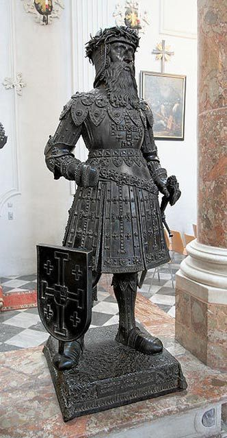 Sixteenth-century bronze statue of Godfrey of Bouillon from the group of heroes surrounding the memorial to Maximilian I, Holy Roman Emperor in the Hofkirche, Innsbruck.
