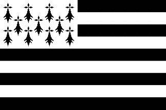 The modern Breton flag, called in Breton Gwenn-ha-Du (white and Black) is made of nine horizontal stripes, in turn black and white, and of 11 eleven black ermine spots, placed 4 + 3 + 4. The design of the ermine spots is subjected to several variations and was once considered as a separatist emblem by the French authorities. The flag is now widespread in Brittany; seen on most town halls, the flag has been officially recognized on 30 June 1997 by Region Bretagne.