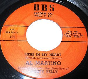 1952 45 Rpm Al Martino HERE IN MY HEART / I CRIED MYSELF TO SLEEP On BBs 101.. Al Martino was one of the great Italian-American pop crooners, boasting a string of hit singles and LPs that stretched from the early '50s all the way into the mid-'70s. However, he is perhaps even better known for his role in The Godfather as singer Johnny Fontane, a character supposedly based on Frank Sinatra but with eerie similarities to Martino's own career.