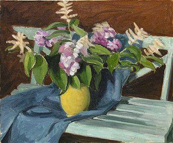 """John Lyman,(1886-1967) """"Bouquet on a Garden Bench"""", c. 1954"""