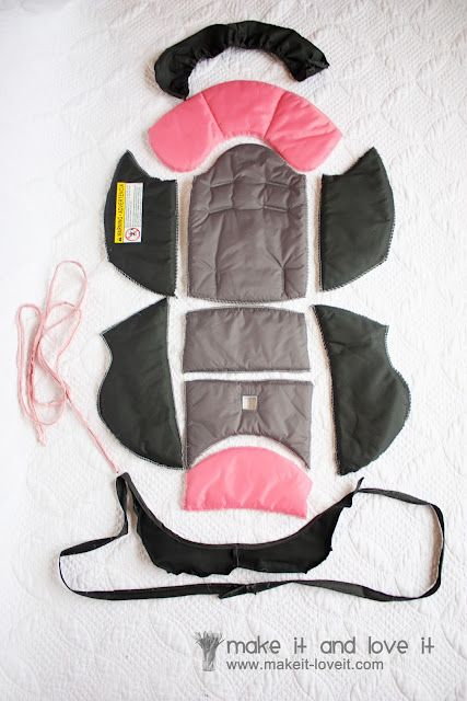 Really good tutorial for making a car seat cover. Pick apart the existing one to use for pattern. Looks like it would work good... maybe i'll atempt it, if i had the paitence ;)
