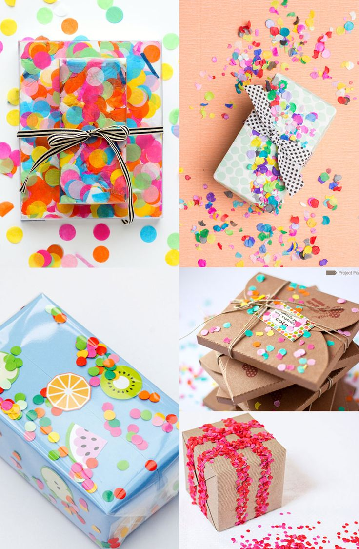 Cute! ~ DIY Confetti Wrapped Gifts