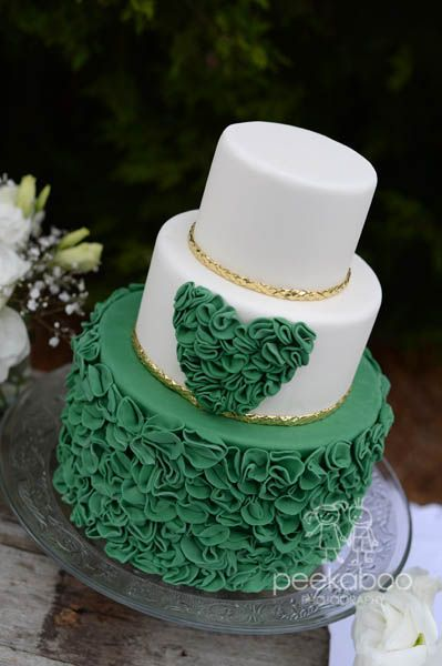 Emerald Green Wedding Cake With Ruffle Heart Gold Ribboning