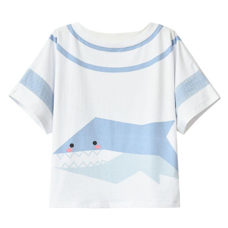 White Kawaii Little Shark T-Shirt SP179719