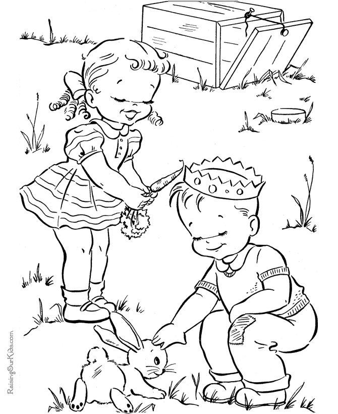 Fun Spring coloring picture for kid - /valerieegea/redwork/  BACK -- #Animals & Children