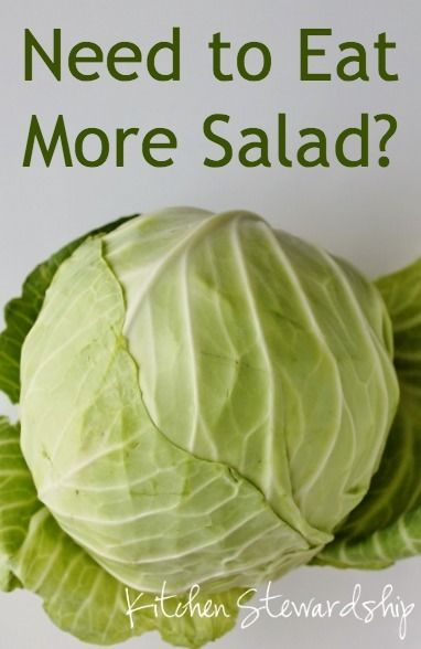 Cabbage is the secret to shopping for produce every 2 weeks and still having salads PLUS saving money and being well nourished! :: via Kitchen Stewardship