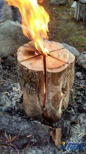 Cut the log like you would cut a cake, pour in a cap full of fuel oil and light!