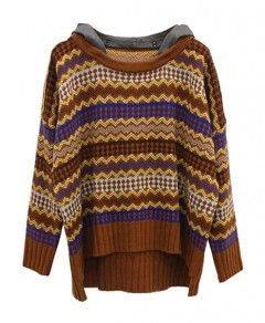 Detachable Hooded Ethnic Jacquard Pullover